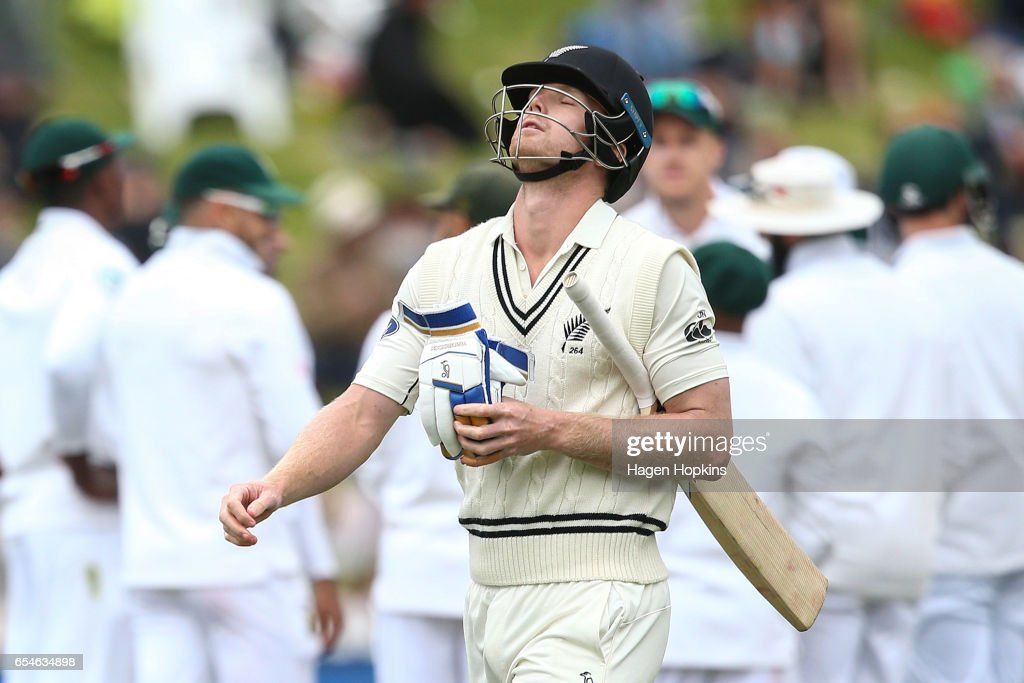 Jimmy Neesham of New Zealand shows his disappointment after being dismissed during day three of the test match between New Zealand and South Africa at Basin Reserve on March 18, 2017 in Wellington, New Zealand.