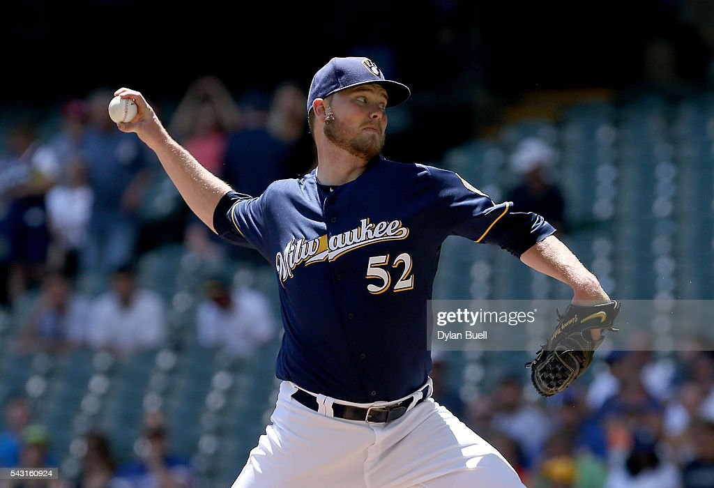 Jimmy Nelson #52 of the Milwaukee Brewers pitches in the first inning against the Washington Nationals at Miller Park on June 26, 2016 in Milwaukee, Wisconsin.