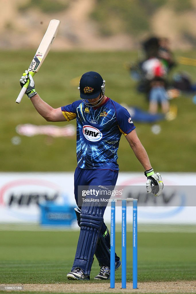 Jimmy Nessam of Otago celebrates fifty runs during the Twenty20 match between Otago and Auckland at Queenstown Events Centre on December 31, 2012 in Queenstown, New Zealand.
