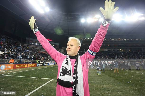 Jimmy Nielsen of Sporting Kansas City celebrates after winning the MLS Cup Final against the Real Salt Lake at Sporting Park on December 7 2013 in...