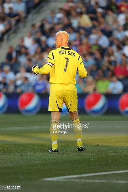 Jimmy Nielsen of Sporting Kansas City directs his defense against the Chicago Fire at Livestrong Sporting Park on June 29 2012 in Kansas City Kansas