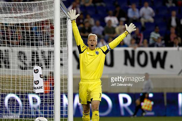 Jimmy Nielsen of Sporting KC clears the ball during a game against the New York Red Bulls during their match at Red Bull Arena on September 19 2012...