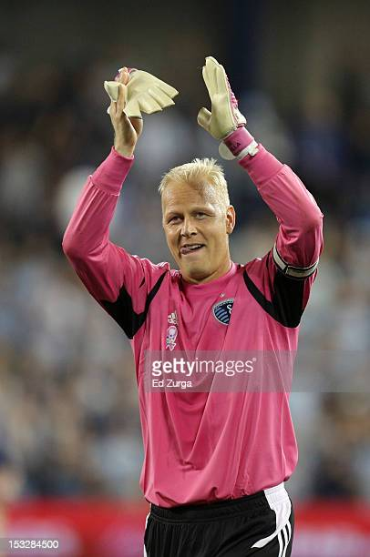 Jimmy Nielsen of the Sporting Kansas City celebrates a 20 win against the Chicago Fire at Livestrong Sporting Park on September 28 2012 in Kansas...