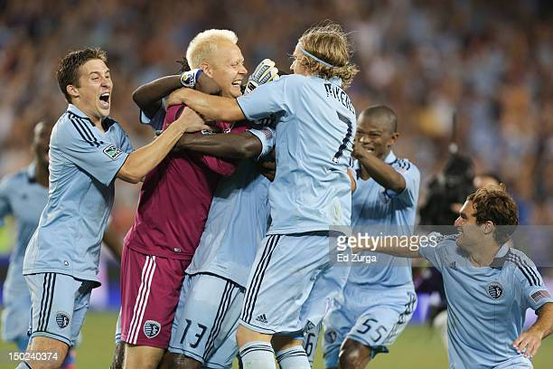 Jimmy Nielsen of the Sporting Kansas City celebrates with teammates after defeating the Seattle Sounders FC to win the Lamar Hunt US Open Cup Final...