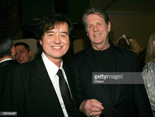Jimmy Page and Brian Wilson during Clive Davis' 2005 PreGRAMMY Awards Party Dinner and Show at Beverly Hills Hotel in Beverly Hills California United...