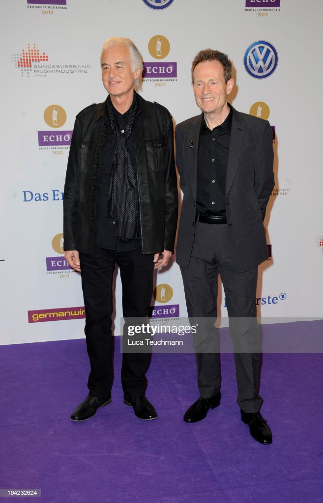 Jimmy Page and John Paul Jones attend the Echo Award 2013 at Palais am Funkturm on March 21, 2013 in Berlin, Germany.