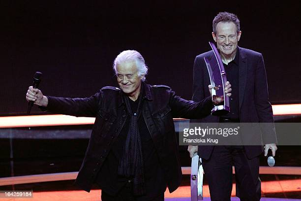 Jimmy Page and John Paul Jones of Led Zeppelin attend at the Echo Award 2013 at Palais am Funkturm on March 21 2013 in Berlin Germany