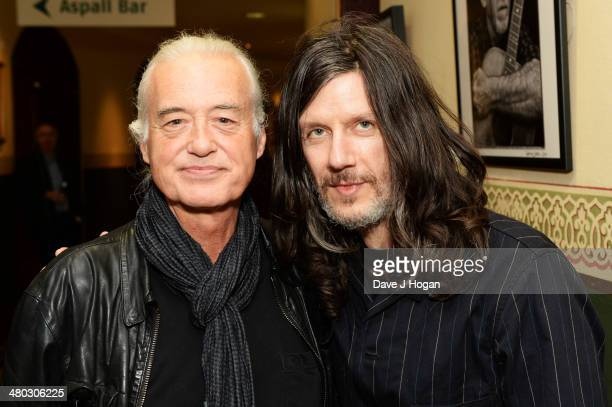 Jimmy Page and John Squire attend the exhibition launch for Scarlet Page's 'Resonators' at The Royal Albert Hall on March 24 2014 in London England