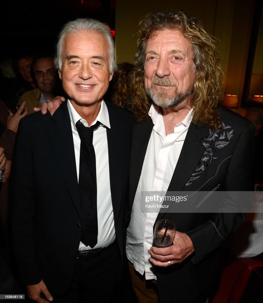Jimmy Page and Robert Plant attend the after party for 'Led Zeppelin Celebration Day' at Monkey Bar on October 9 2012 in New York City The film...