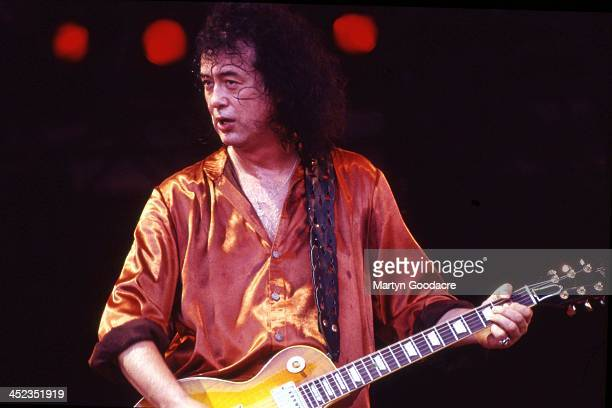 Jimmy Page and Robert Plant perform on stage as Page Plant at Glastonbury Festival Somerset United Kingdom 25th June 1995