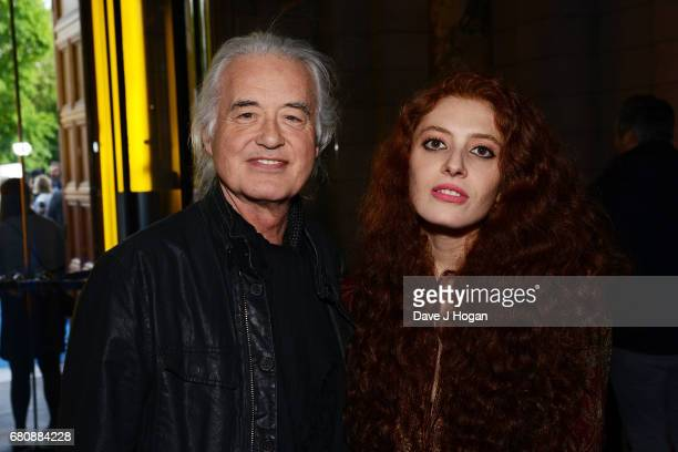 Jimmy Page and Scarlett Sabet attend The Pink Floyd Exhibition 'Their Mortal Remains' private view at The VA on May 9 2017 in London United Kingdom