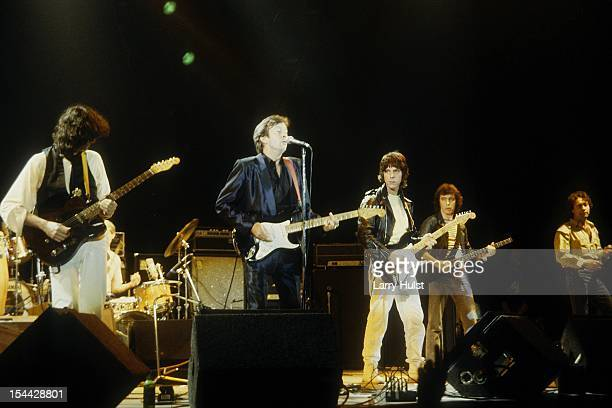 Jimmy Page Eric Clapton Jeff Beck Bill Wyman and Paul Rodgers performing at the ARMS Benefit at the Cow Palace in Daly City California on December 03...