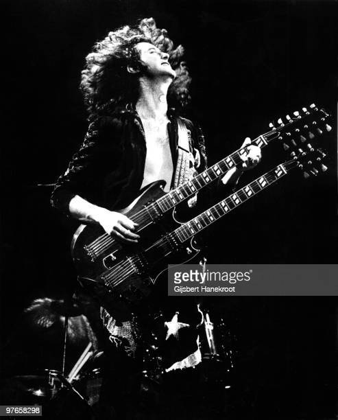 Jimmy Page from Led Zeppelin performs live on stage in Germany in March 1973