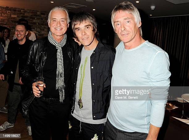 Jimmy Page Ian Brown and Paul Weller attend as The Stone Roses perform a secret gig at adidas Underground on August 6 2012 in London England