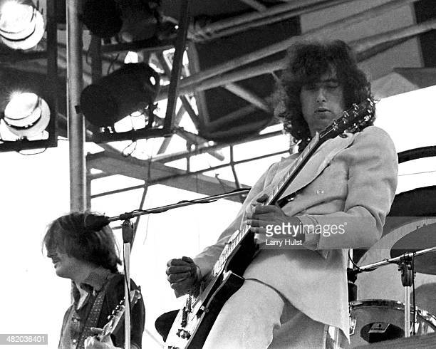 Jimmy Page is performing with 'Led Zeppelin' at Kezar stadium on June 2 1973 in San Francisco California Photo by Larry Hulst/Michael Ochs...
