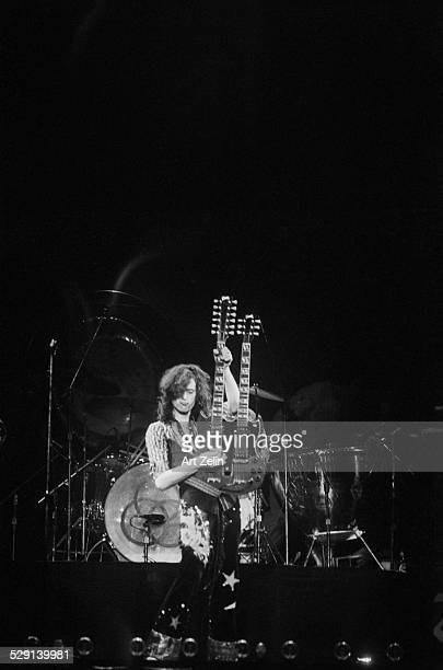 Jimmy Page of Led Zeppelin in performance