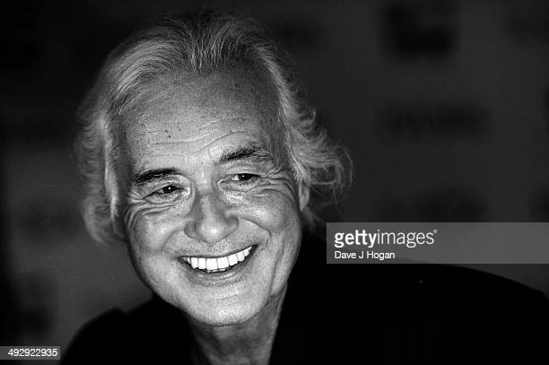 Jimmy Page poses in the winners room at The Ivor Novello Awards at The Grosvenor House Hotel on May 21 2014 in London England