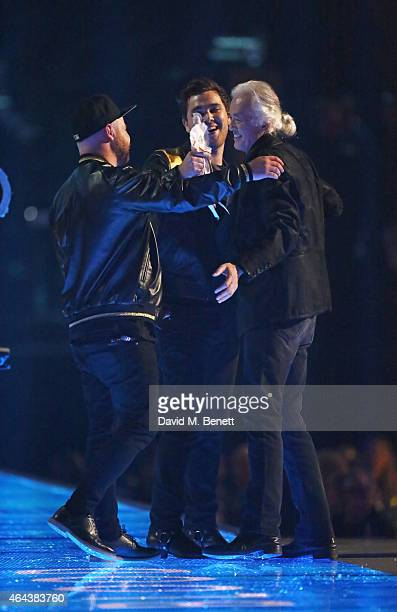 Jimmy Page presents Mike Kerr and Ben Thatcher of Royal Blood with the award for Best British Group at the BRIT Awards 2015 at The O2 Arena on...