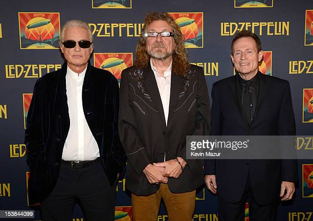 Jimmy Page Robert Plant and John Paul Jones attend the premiere of 'Led Zeppelin Celebration Day' at Ziegfeld Theatre on October 9 2012 in New York...
