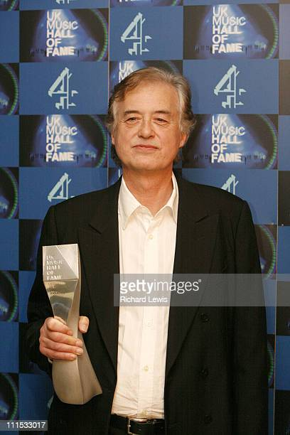 Jimmy Page UK Music Hall of Fame inductee during UK Music Hall Of Fame 2006 Press Room at Alexandra Palace in London Great Britain