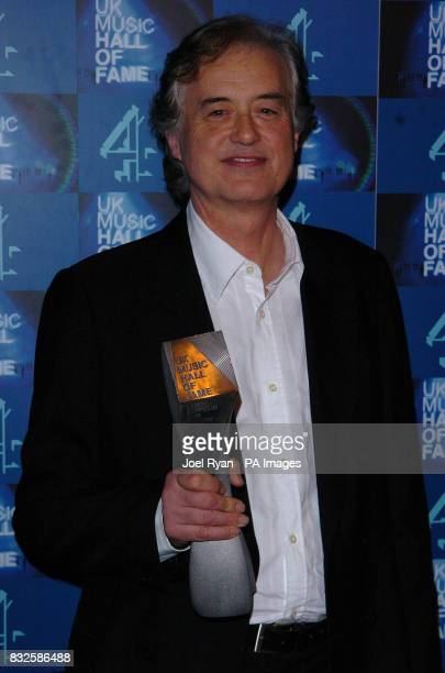 Jimmy Page with his UK Music Hall of Fame 2006 induction award in Alexandra Palace London