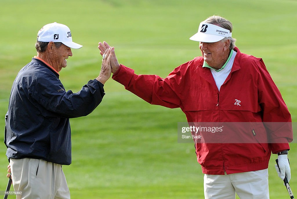 Jimmy Powell and Al Geiberger celebrate on the first hole during the final round of the Demaret Division at the Liberty Mutual Insurance Legends of Golf at The Westin Savannah Harbor Golf Resort & Spa on April 23, 2013 in Savannah, Georgia.