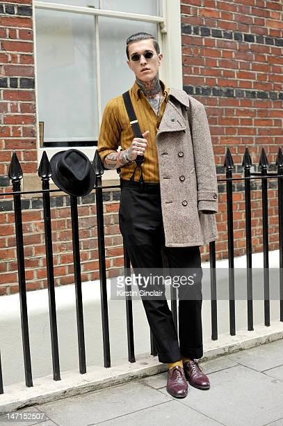 Jimmy Q model wearing vintage shoes Wacko maria trousers Vintage Pendelton shirt Trafalgar braces Vintage jacket Whiteley hat Vintage Safari...
