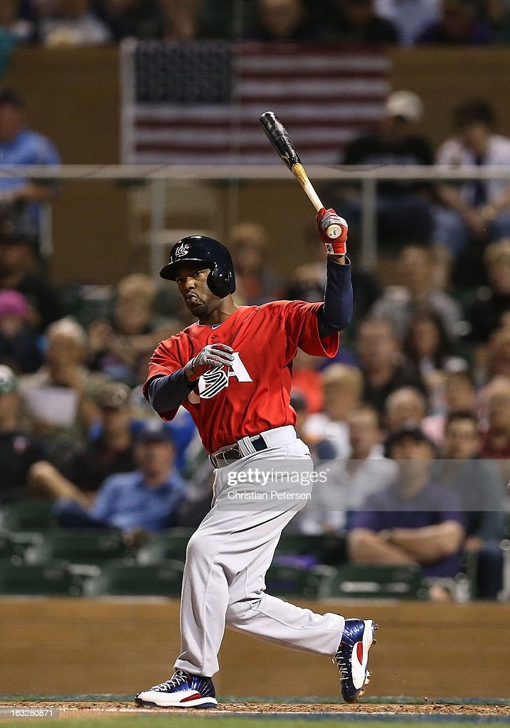 <a gi-track='captionPersonalityLinkClicked' href=/galleries/search?phrase=Jimmy+Rollins&family=editorial&specificpeople=204478 ng-click='$event.stopPropagation()'>Jimmy Rollins</a> #11 of Team USA bats against the Colorado Rockies during the spring training game at Salt River Fields at Talking Stick on March 6, 2013 in Scottsdale, Arizona.