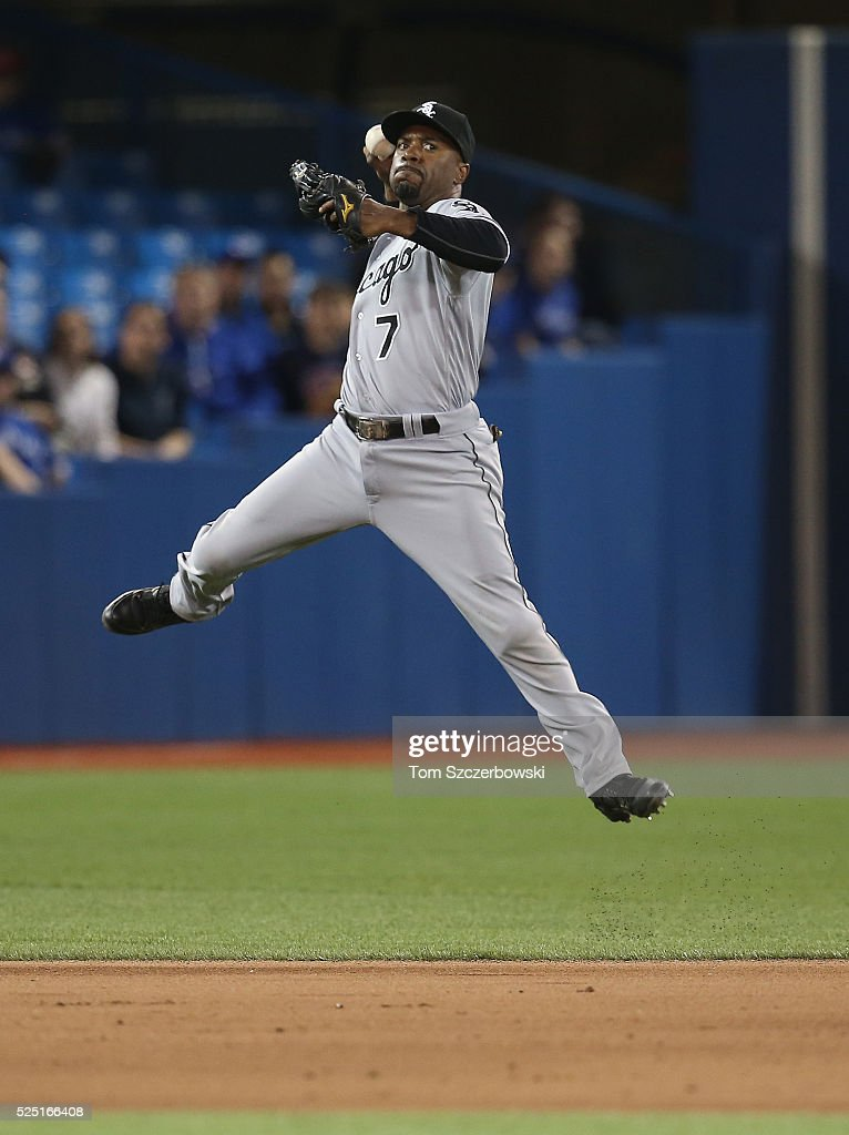 Jimmy Rollins #7 of the Chicago White Sox makes the play and throws out the baserunner in the eighth inning during MLB game action against the Toronto Blue Jays on April 27, 2016 at Rogers Centre in Toronto, Ontario, Canada.