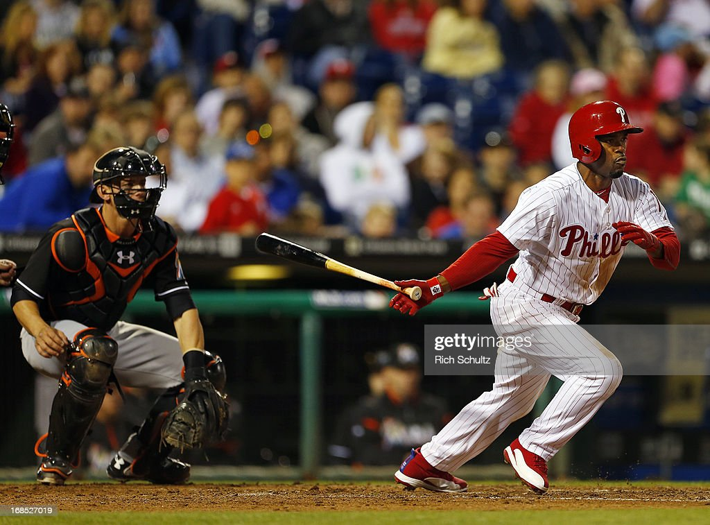 <a gi-track='captionPersonalityLinkClicked' href=/galleries/search?phrase=Jimmy+Rollins&family=editorial&specificpeople=204478 ng-click='$event.stopPropagation()'>Jimmy Rollins</a> #11 of the Philadelphia Phillies bats against the Miami Marlins during a game on May 3, 2013 at Citizens Bank Park in Philadelphia, Pennsylvania.
