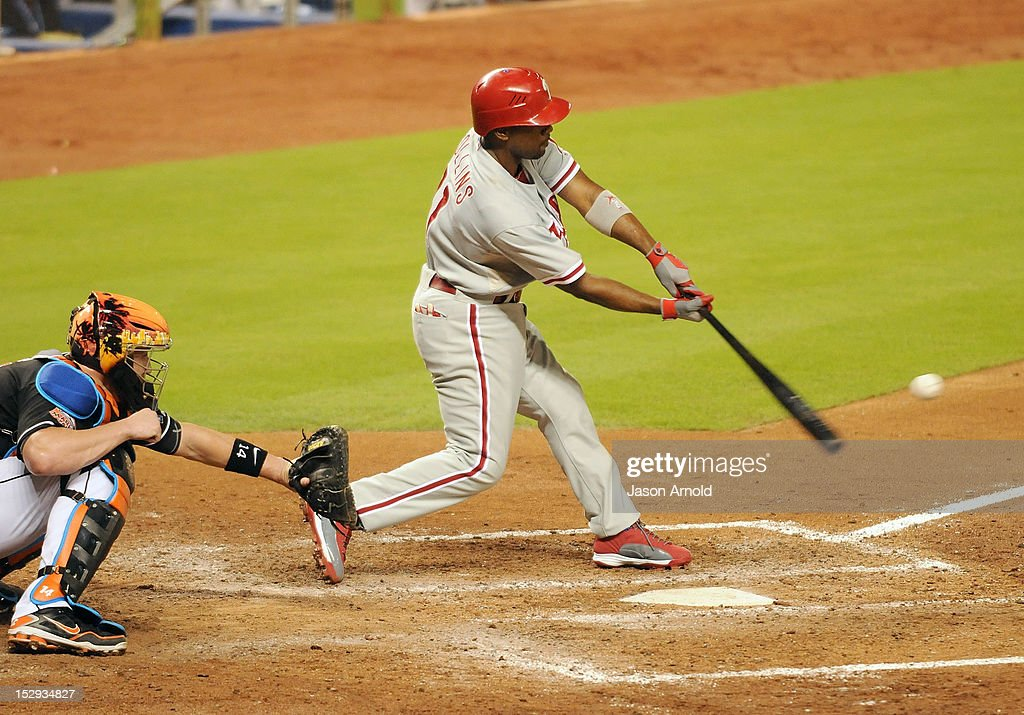 Jimmy Rollins #11 of the Philadelphia Phillies bats against the Miami Marlins at Marlins Park on September 28, 2012 in Miami, Florida.