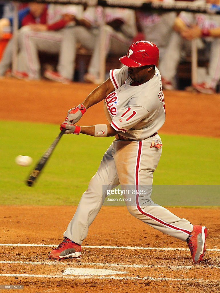 <a gi-track='captionPersonalityLinkClicked' href=/galleries/search?phrase=Jimmy+Rollins&family=editorial&specificpeople=204478 ng-click='$event.stopPropagation()'>Jimmy Rollins</a> #11 of the Philadelphia Phillies bats against the Miami Marlins at Marlins Park on September 30, 2012 in Miami, Florida.
