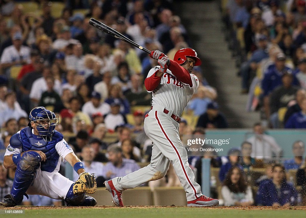 <a gi-track='captionPersonalityLinkClicked' href=/galleries/search?phrase=Jimmy+Rollins&family=editorial&specificpeople=204478 ng-click='$event.stopPropagation()'>Jimmy Rollins</a> #11 of the Philadelphia Phillies bats during the MLB game against the Los Angeles Dodgers at Dodger Stadium on July 17, 2012 in Los Angeles, California. The Phillies defeated the Dodgers 3-2.