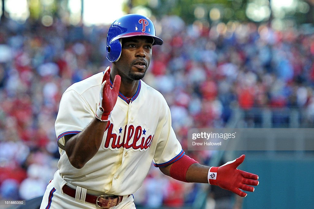 <a gi-track='captionPersonalityLinkClicked' href=/galleries/search?phrase=Jimmy+Rollins&family=editorial&specificpeople=204478 ng-click='$event.stopPropagation()'>Jimmy Rollins</a> #11 of the Philadelphia Phillies celebrates his two-run home run during the game against the Miami Marlins at Citizens Bank Park on September 12, 2012 in Philadelphia, Pennsylvania. The Phillies won 3-1.