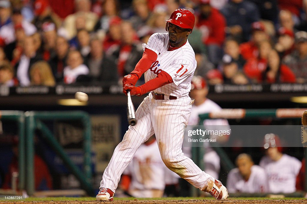 <a gi-track='captionPersonalityLinkClicked' href=/galleries/search?phrase=Jimmy+Rollins&family=editorial&specificpeople=204478 ng-click='$event.stopPropagation()'>Jimmy Rollins</a> #11 of the Philadelphia Phillies gets a base hit in the 8th inning against the New York Mets at Citizens Bank Park on April 13, 2012 in Philadelphia, Pennsylvania. The Mets won 5-2.