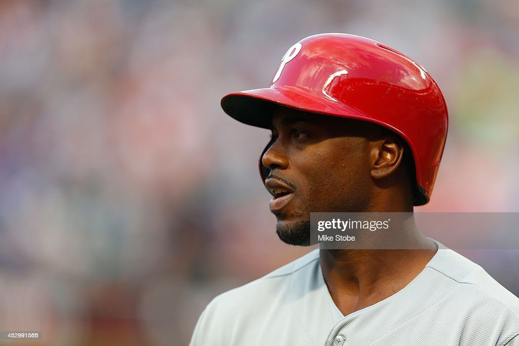 <a gi-track='captionPersonalityLinkClicked' href=/galleries/search?phrase=Jimmy+Rollins&family=editorial&specificpeople=204478 ng-click='$event.stopPropagation()'>Jimmy Rollins</a> #11 of the Philadelphia Phillies in action against the New York Mets on July 28, 2014 at Citi Field in the Flushing neighborhood of the Queens borough of New York City. Mets defeated the Phillies 7-1