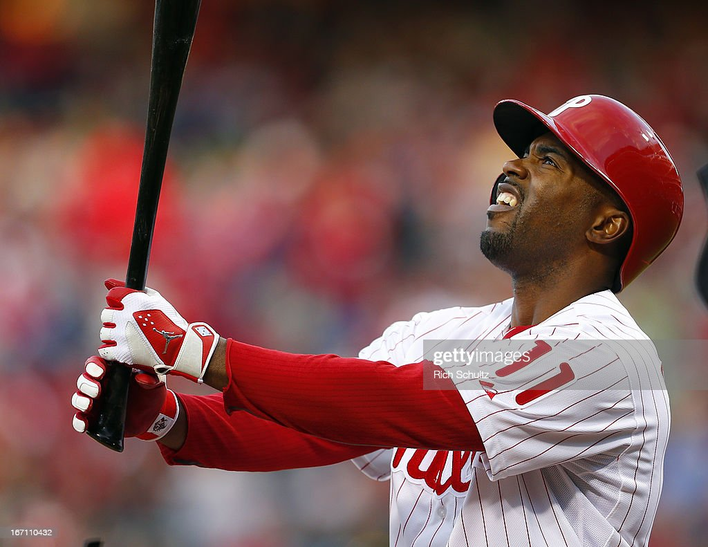 Jimmy Rollins #11 of the Philadelphia Phillies reacts to a pitch against the St. Louis Cardinals in a MLB baseball game on April 20, 2013 at Citizens Bank Park in Philadelphia, Pennsylvania. The Cardinals defeated the Phillies 5-0.