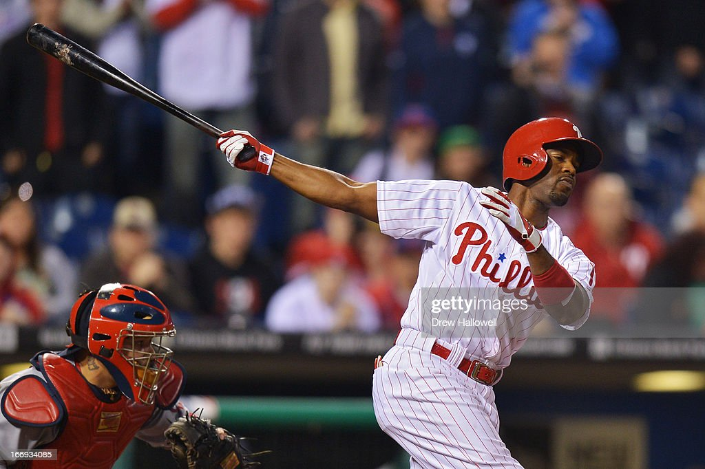<a gi-track='captionPersonalityLinkClicked' href=/galleries/search?phrase=Jimmy+Rollins&family=editorial&specificpeople=204478 ng-click='$event.stopPropagation()'>Jimmy Rollins</a> #11 of the Philadelphia Phillies strikes out swinging in the ninth inning during the game against the St. Louis Cardinals at Citizens Bank Park on April 18, 2013 in Philadelphia, Pennsylvania. The Cardinals won 4-3.