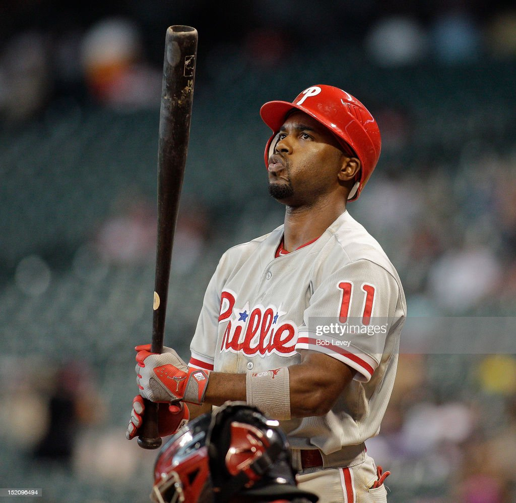 <a gi-track='captionPersonalityLinkClicked' href=/galleries/search?phrase=Jimmy+Rollins&family=editorial&specificpeople=204478 ng-click='$event.stopPropagation()'>Jimmy Rollins</a> #11 of the Philadelphia Phillies takes a moment before he steps into the batters box against the Houston Astros at Minute Maid Park on September 16, 2012 in Houston, Texas. Houston wins 7-6.