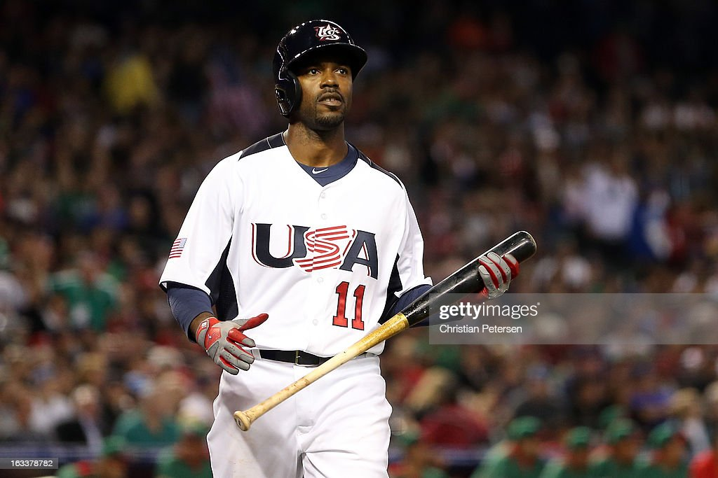 Jimmy Rollins #11 of the UNited States reacts after he struck out in the first inning against Mexico during the World Baseball Classic First Round Group D game at Chase Field on March 8, 2013 in Phoenix, Arizona.