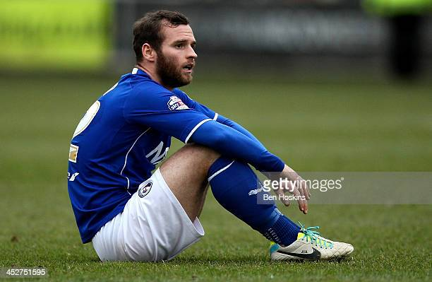 Jimmy Ryan of Chesterfield looks dejected after his side lost the Sky Bet League Two match between Newport County AFC and Chesterfield at Rodney...