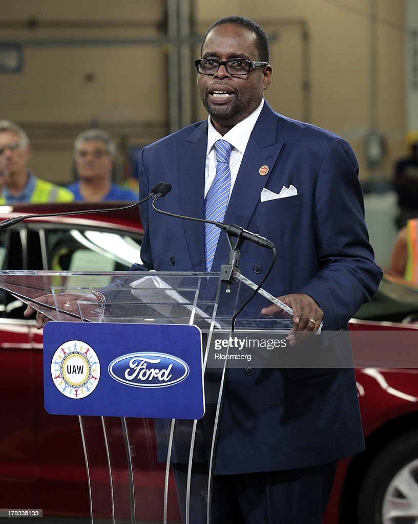 Jimmy Settles, vice president of the United Auto Workers (UAW), speaks during an event at the Ford Motor Co. Flat Rock Assembly Plant in Flat Rock, Michigan, U.S., on Thursday, Aug.. 29, 2013. Ford will add a shift of 1,400 new workers at the Flat Rock plant to boost Fusion capacity more than 30 percent, according to a statement from the company. Photographer: Jeff Kowalsky/Bloomberg via Getty Images