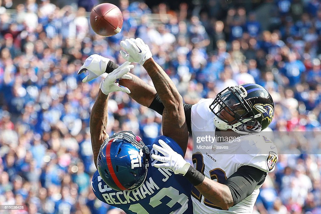 Jimmy Smith #22 of the Baltimore Ravens breaks up a pass intended for Odell Beckham Jr. #13 of the New York Giants during the first half of the game at MetLife Stadium on October 16, 2016 in East Rutherford, New Jersey.
