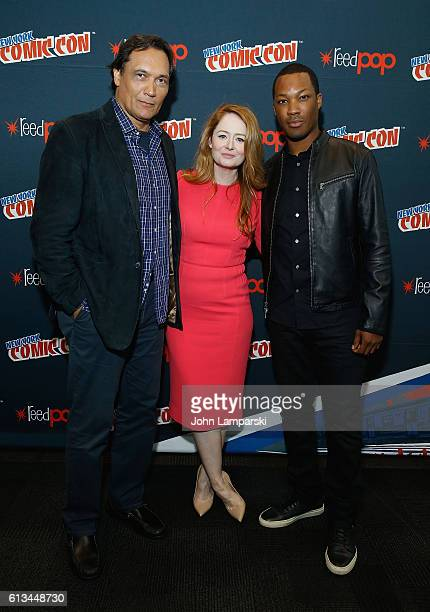 Jimmy Smits Miranda Otto and Corey Hawkins attend '24 Legacy' press conference during the 2016 New York Comic Con day 3 on October 8 2016 in New York...