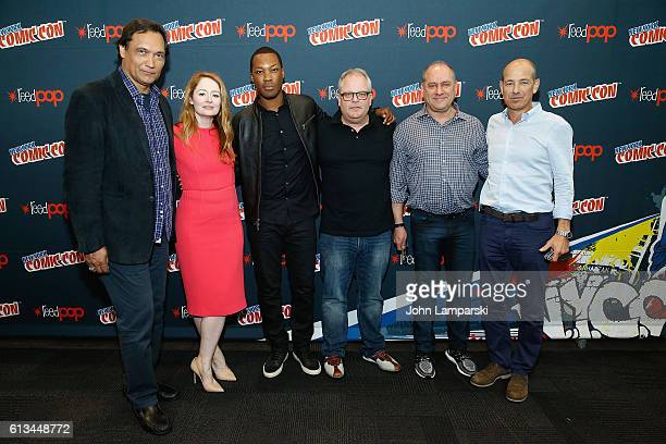 Jimmy Smits Miranda Otto Corey Hawkins Manny Coto Kevin Katz and Howard Gordon attend '24 Legacy' press conference during the 2016 New York Comic Con...