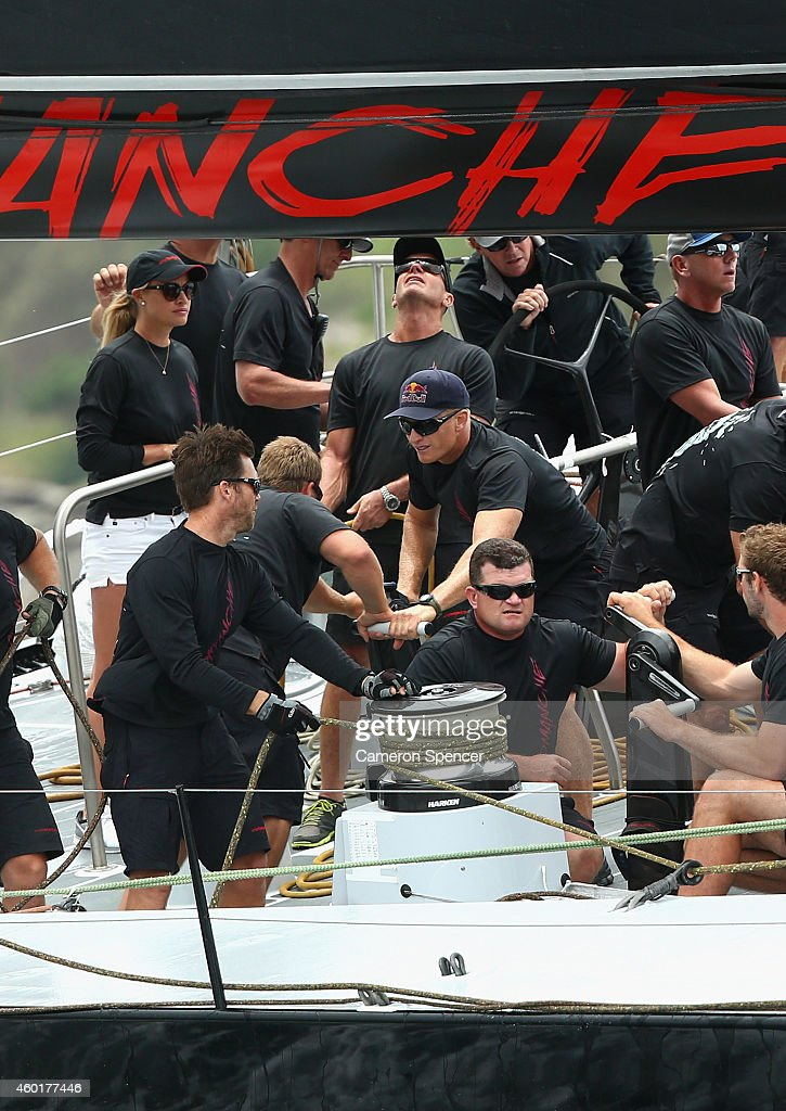 Jimmy Spithill crews onboard supermaxi 'Comanche' during the SOLAS Big Boat Challenge in Sydney Harbour on December 9 2014 in Sydney Australia