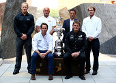 Jimmy Spithill Max Sirena Franck Cammas and Sir Ben Ainslie and Dean Barker pose for photographers after the Americas Cup press conference to promote...