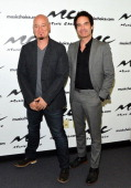 Jimmy Stafford and Pat Monahan of pop rock band 'Train' visit Music Choice on June 9 2014 in New York City