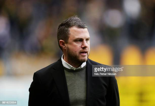 Jimmy Thelin head coach of Jonkopings Sodra during the Allsvenskan match between AIK and Jonkopings Sodra IF at Friends Arena on October 15 2017 in...