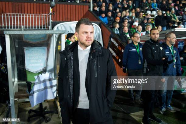 Jimmy Thelin head coach of Jonkopings Sodra looks on prior to the Allsvenskan match between Jonkopings Sodra IF and Kalmar FF at Stadsparksvallen on...